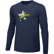 West TV 20: Youth-Size - Nike Team Legend Long-Sleeve Crew T-Shirt - Navy Blue